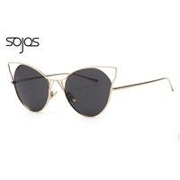Gafas de sol del marco del hueco del metal del ojo del gato de la marca de fábrica de lujo de la venta al por mayor-SOJOS de las gafas de sol del partido de las mujeres Gafas de sol atractivas del diseñador de moda de los vidrios de los ojos de gato 1041