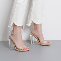 Wholesale 2017 Newest Women Pumps Celebrity Wearing Simple Style PVC Clear Transparent Strappy Buckle Sandals High Heels Shoes Woman