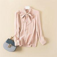 achat en gros de filles blouse col haut-Chemise en soie pour femme avec ruban au cou ELEGANT Chemise pour fille de haute qualité