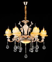 Wholesale Zinc Alloy Glass Pendant Lamps Modern Led Crystal Chandelier Flower Shaped Lamp Shade Remot switch Decoration Light Living Room
