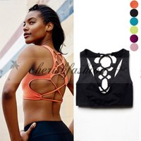Wholesale Sexy women yoga sport bra with pad vest sleeveles shirt back cross tank top crop tops Breathable summer fitness running M443