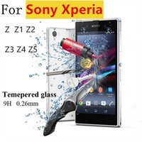 Wholesale Premium mm H Tempered Glass Film Explosion Proof Screen Protector For Sony Xperia Z Z1 Z2 Z3 Z4 Z5 Cleaning Kit