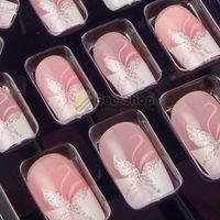 Wholesale Full Sizes Acrylic Full Cover Nail Tips False Nail Art With Glue Pre Designed Fake Nail Tips Artificial Nails JQ006