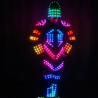 Wholesale YB129 HIP HOP lighted LED Masked robot suit for evening performance The LED illuminated Robot suit luminous glowing dance Clothes