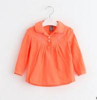Wholesale 2017 Baby Girls Shirts Korean Embroidery Ruffle Long Sleeve Children Shirts Cute Spring Cotton Lapel Kids Tops