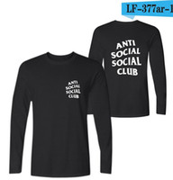 Wholesale Anti Social Social Club T Shirts Black Grey White Men s Tees Kanye West Style T Shirts Mens Cotton Long Sleeve T Shirts