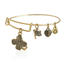 adjustable ring jewelry - Alex and Ani alloy adjustable lucky leaves charm Bracelets with gift box DIY bracelets jewelry Alex ani