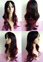 Wholesale TOP Selling Kanekalon wig Black Red Wavy Gradient wigs with bang for women synthetic wigs