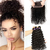 band deep - Pre Plucked Full Lace Frontal Closure With Bundles Brazilian Deep Wave Human Hair Weaves With Lace Band Frontal Deep Curly Hair
