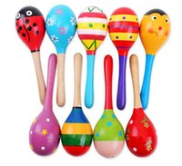 Wholesale Hot Sale Baby Wooden Toy Rattle Baby cute Rattle toys Orff musical instruments Educational Toys Wood sand hammer JF