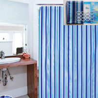 Wholesale 180x180cm Bathroom Curtain Luxury Stripe Mould Resistant Waterproof Bath Shower Curtain with Plastic Hooks