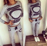 Wholesale Cheapest T shirt Hot Sale Casual Printing T Shirt Pants Two Pieces Set Grey