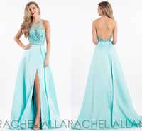 Cheap Amazing Aqua Side Slits Prom Dresses 2017 Cheap Halter Sheer Neck with Bling Crystal Sequined Red Carpet Evening Celebrity Party Gowns New