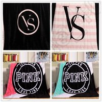 Wholesale Pink Letter Blankets Coral Fleece Blanket Sofa Air Condition Blankets Catwalk Dimensional Beadding Christmas Gifts OOA795