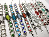 antique opal bracelet - Hot Sale Women Fashion Antique Silver Charm jewelry Bracelet Mixed Style Tibetan silver Bangle Fit Women Party Gift Wedding