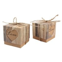 Wholesale 50pcs Romantic Heart Candy Box for Wedding Decoration Vintage Kraft Wedding Favors and Gifts Box with Burlap Twine Chic