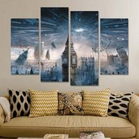 abstract art uk - 5 Panels Paintings for Living Room Wall Panel Modern UK Big Ben Painting Picture City Building Landscape Painting Canvas Wall Art No Frame