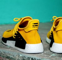 Wholesale Updated Boost Hu NMD Human Race Sports Running Shoes Knit Pharrell Human Race NMD Runner Boost Yellow Black Green Blue Tangerine Trainers