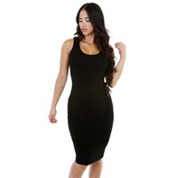 Wholesale New Style Women Dress Scoop Neck Sleeveless Pencil Dresses Knee Length Sexy Club Party Dress Summer Solid color Bodycon Dresses