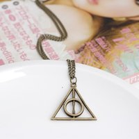 antique triangles - hot sale colors Harry Potter Deathly Hallows Necklace Triangle Gift Antique copper Silver Gold Movie Jewelry for Christmas WA1631