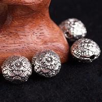 Wholesale 10pcs Cupronickel lotus carved loose Flat beads DIY prayer beads Necklace Bracelet Earrings Fashion Gift Children