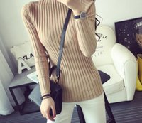 Wholesale 2016 fashionable new winter female sweater half collar slimming solid long sleeve knitwear four colors optional primer shirt