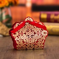 Wholesale pieces Wedding Decoration Chocolate Box Red Color Candy Box Paper Laser Cutting Gift Box For Wedding Favors