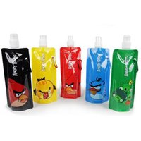 Wholesale 480ml Folding Water bottle Portable water bag cartoon bag Sport Bag foldable water bottle With OPP packing fast shipping JF