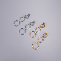 Wholesale Triple Hollow Circle Link Hand Made Woman Earring Concise Simple Punk Earring Bohemia Hip Hop Night Club OEM