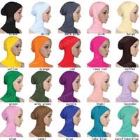 arab neck scarf - Modal head bonnet cm Fashion Islamic Turban Head Wear Band Neck Chest Cover Bonnet Muslim Short Hijab Shawls Arab Women Scarf