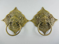 Metal antique brass door knocker - A Pair of Elaborate Chinese Classical Collectible Decorated Old Handwork Copper Beast Statue Door Knocker