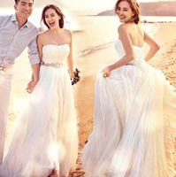 Wholesale Tangle Fashion Women Bra Dress Elegant a Line Empire Long Chiffon Bridal Sexy Beach Wedding Dress