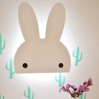 Wholesale ins style new baby wooden miffy nightlight kidsroom remote control led lamp girlsroom decor wooden light cute children night light