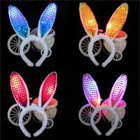 Wholesale Hot Fashion Bunny Girl LED Headband Masquerade Performance Show Flash Rabbit Ears Headwear Sequins Plush Headband Mix Order