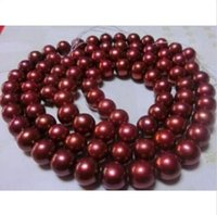 Wholesale classic AAA mm natural south sea red pearl necklace quot K yellow gold cla