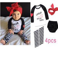 baby footed pants - Infant autumn clothing sets baby girls T shirt short pants hairband Foot Straps clothes girls romper in autumn
