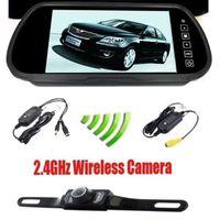 "Cheap 7"" inch TFT LCD Rear View Mirror Monitor & 2.4GHz Wireless Reverse Car Rear View Backup Camera Kit Free Shipping car dvr"