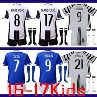 Wholesale 2016 Youth Child kit Kids Jersey socks home and away soccer jersey with juventus MARCHISIO DYBALA HIGUAIN football jersey