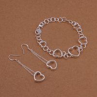 Wholesale best gift Hanging hollow silver plated jewelry sets for women WS427 nice silver necklace bracelet earring ring set