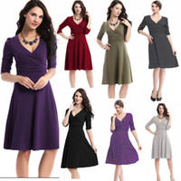 Wholesale New Fashion V Neck Patchwork Dresses for Women OL Work Business Cocktail Casual Plus Size Dress High Waist Vintage Style LN1205