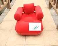 Sleeping Pads armchair sofas - comfortable red color flocked pvc inflatable square sofa chair seat for adult with armchair backrest