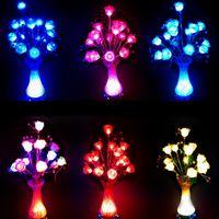 Wholesale LED simulation glow flowers vase lights Multi colors Led Rose night lights for home wedding decorations gift for Valentine AC110 V
