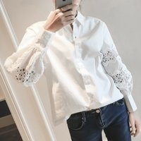 Wholesale Women Lace Blouse Vintage Long Sleeve Lace Blouse Ladies Fashion Casual White Puff Sleeve Women Shirts