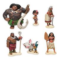 Wholesale 6 Style Moana princess Maui Action Figure toys cm new Children cartoon Tamatoa Hei Hei the Rooste PVC minifigures toys Dolls