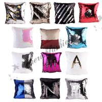 Wholesale 15 Style Sequins Pillow Cushion Cover Pillowslip Sofa Pillow Case Iridescent Glow double color Pillow Covers cm M546 B