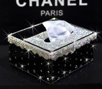 Wholesale Multifunction Crystal Bling Decoraged Black Alligator PU Leather Tissue Box Tray Rectangular Crystal Different Colors Choic