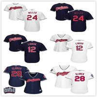 baseball w - Women Cleveland Indians Francisco Lindor Andrew Miller Corey Kluber White Blue Female Jerseys Lady Shirt w World Series Patch S XXL