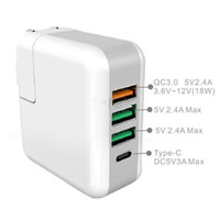 Wholesale UK US EU Plug Portable QC3 V A USB Port Type C Travel Charger for iPhone Huawei THC Xiaomi Meizu Tablets