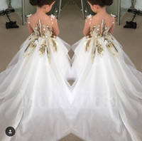 Wholesale 2017 New Fashion Flower Girls Dresses For Weddings Long Sleeves Gold Sequins Long Pageant Party Gowns First Communion Dress For Child Teens