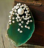 Para señoras ropa generosa gran ágata de color y agua dulce flor perla ramillete